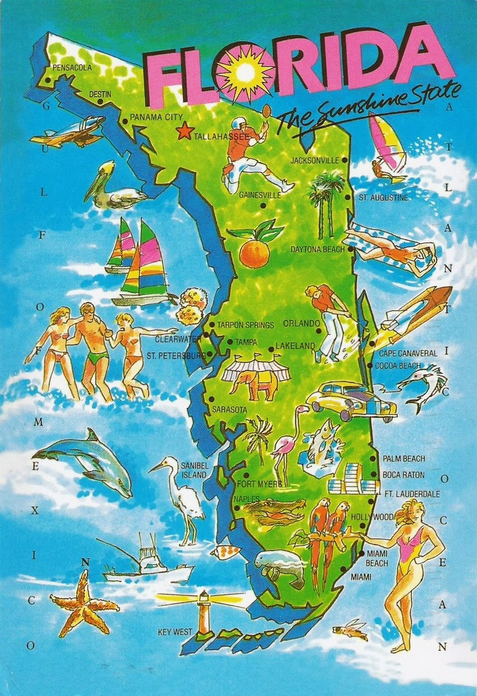 Postcards On My Wall Map Of Florida State The Sunshine State
