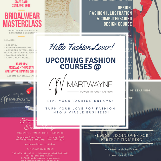 Bridalwear Masterclass, Fashion Illustration & CAD Course, Sewing Courses & many more coming up @ Martwayne