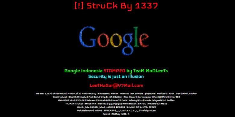 Google Indonesia di serang Hacker