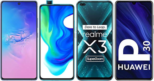 Samsung Galaxy S10 Lite vs Xiaomi Poco F2 Pro vs Realme X3 Super Zoom vs Huawei P30