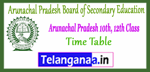 Arunachal Pradesh 10th 12th Exam Time Table 2018