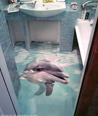 Lustiges Bild zum lachen - Delfin schwimmt im Badezimmer