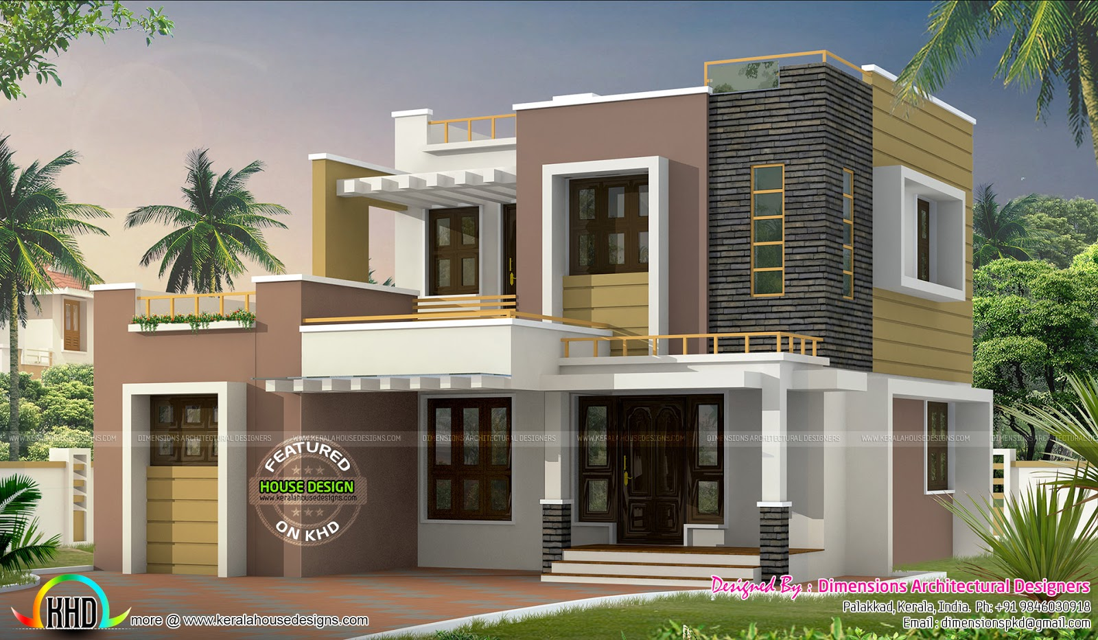 1500 sq ft contemporary home kerala home design and for Modern house plans 1500 square feet