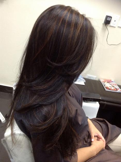 Warna rambut hitam highlight emas