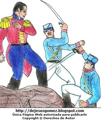 Ilustración de la Batalla de Junín para niños. Dibujo de la Batalla de Junín de Jesus Gómez