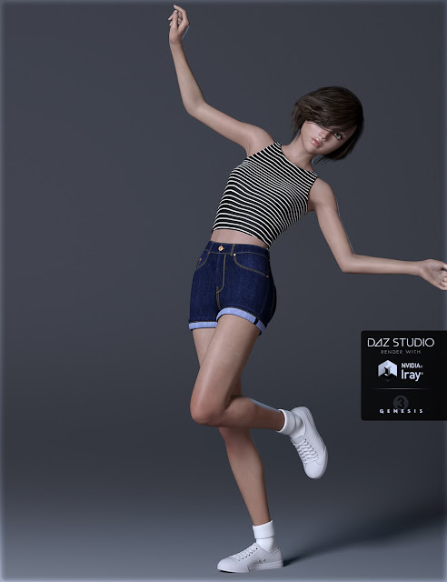 H-C Short Casual A for Genesis 3 Female