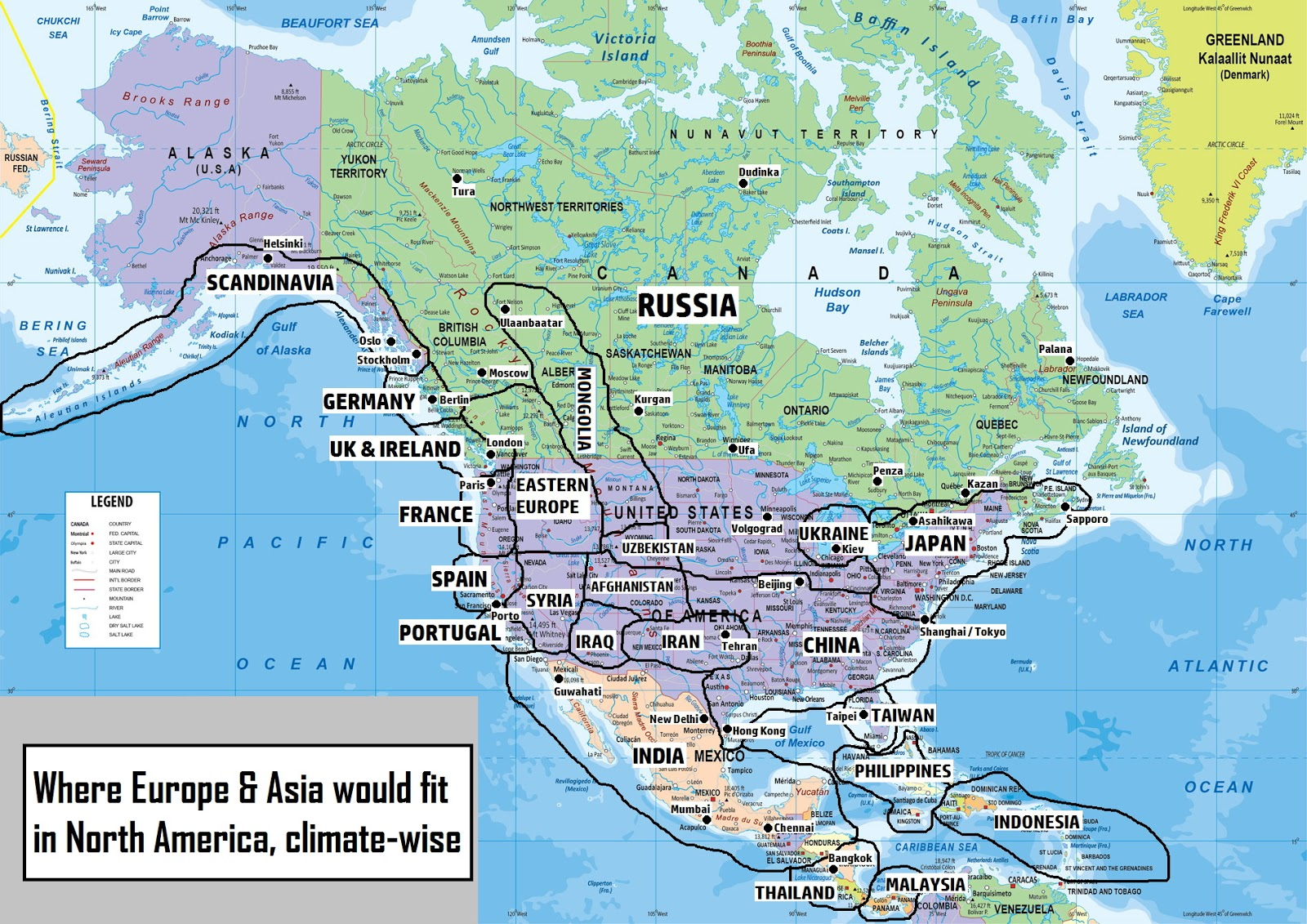 Where Europe and Asia would fit in North America, climate-wise