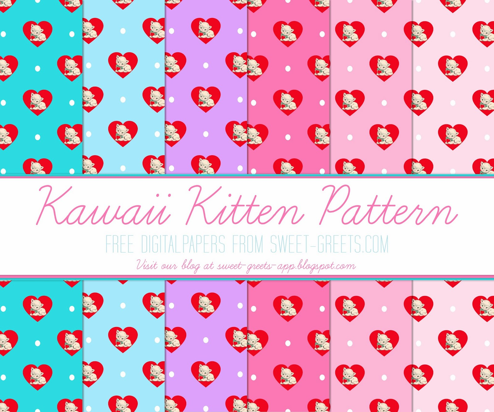 Free Digital Paper: Kawaii Kittens