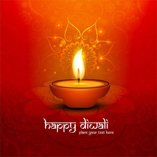 Orange background for diwali Free Vector