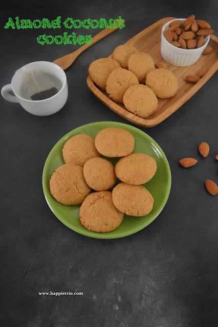 Whole Wheat Eggless Almond coconut cookies Recipe | Badam Coconut Cookie