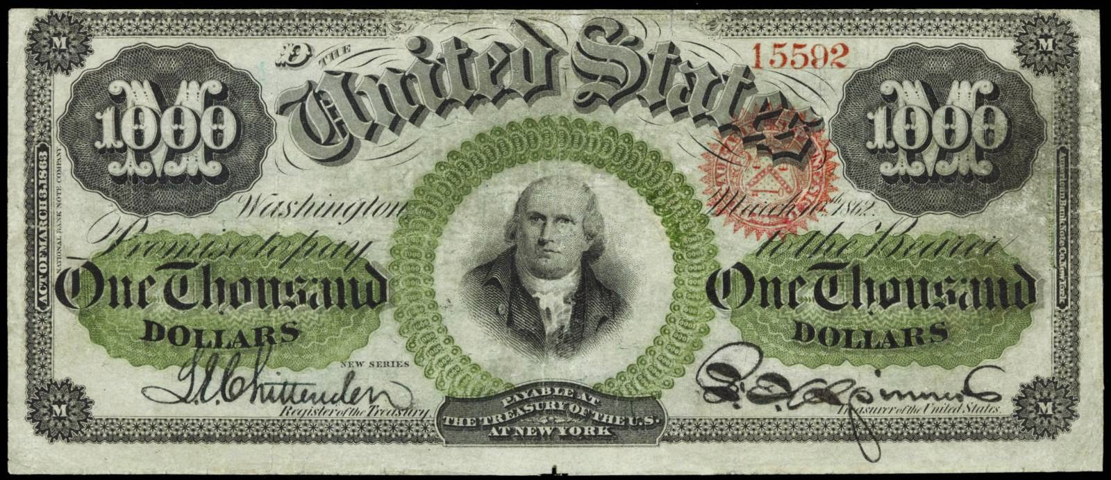 United States currency 1000 Dollar bill Legal Tender Note 1863
