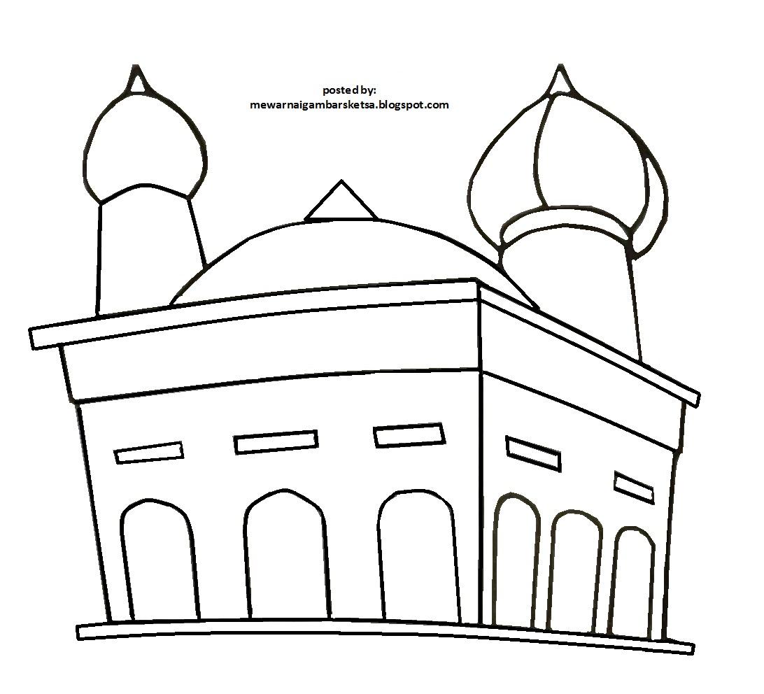 Mewarnai Gambar: Contoh Mewarnai Gambar Masjid