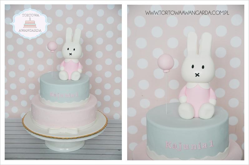 piętrowy szaro różowy tort Miffy urodzinowy  dla dziewczynki  Warszawa