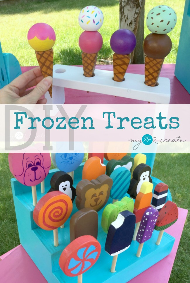 Make your own super cute wooden DIY Frozen treats and a frozen treat holder with free plans and picture tutorial at MyLove2Create