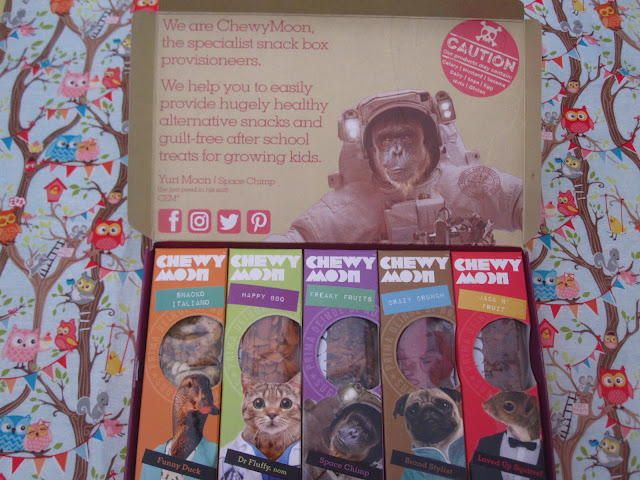 ChewyMoon subscription box, open and showing the snacks