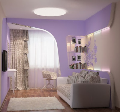 relaxing bedroom color scheme of purple white combination