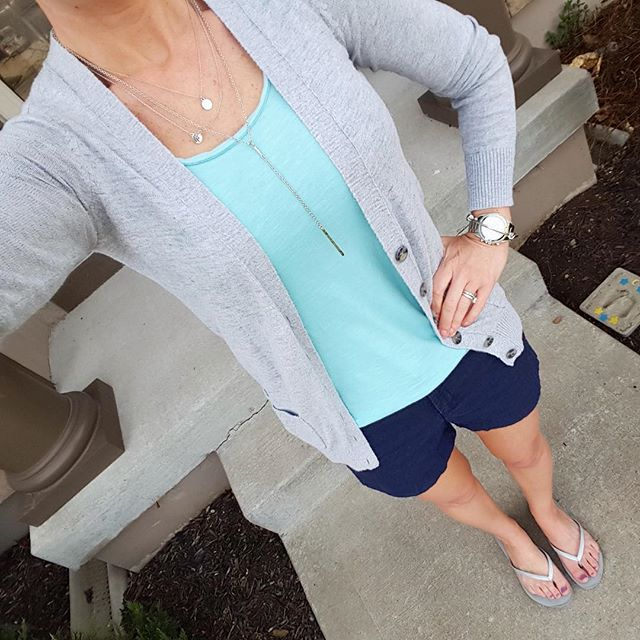 Mossimo Cardigan // Loft Tank Top // Banana Republic Factory Shorts (similar) // Mossimo Flip Flops // ILY Couture Necklace // Michael Kors Runway Watch - on sale! // ILY Couture Bracelet