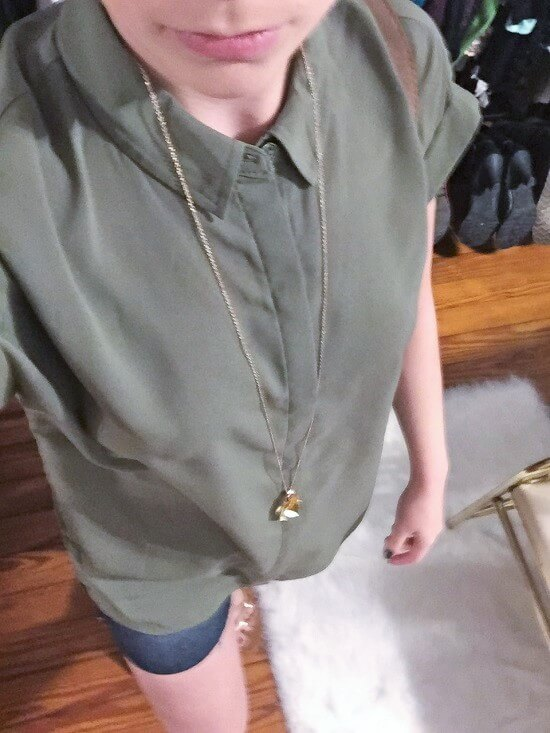 Bongo high-low green blouse outfit of the day