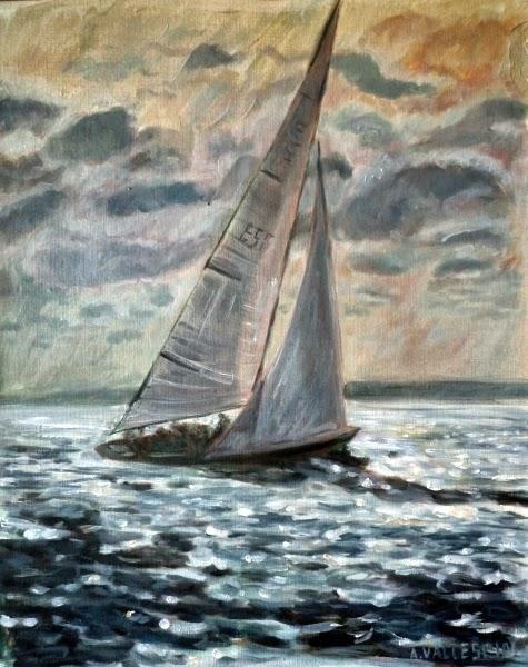 Pintura al óleo de barco de vela navegando al atardecer