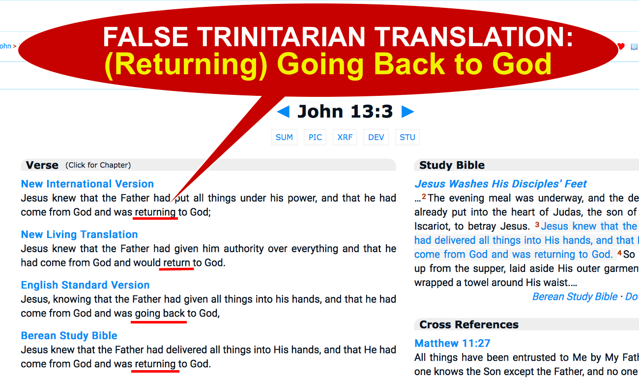 John 13:3 FALSE TRINITARIAN TRANSLATION.