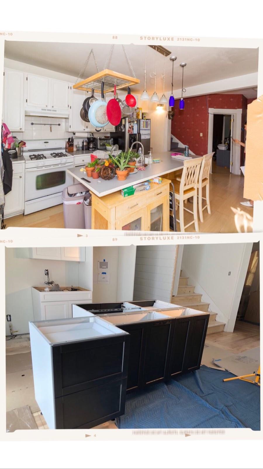 white cabinets black island