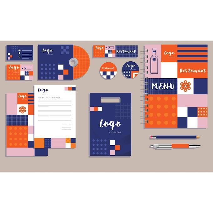 Restaurant brand identity sets colorful flat geometric decor Free vector
