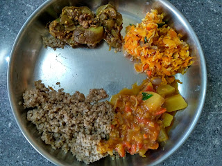 Kodo millet (Varagu), Bottle gourd sambar, Brinjal poriyal, Carrot poriyal