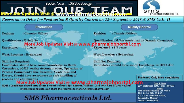 SMS Pharmaceuticals Ltd Walk In Interview at 22 Sep