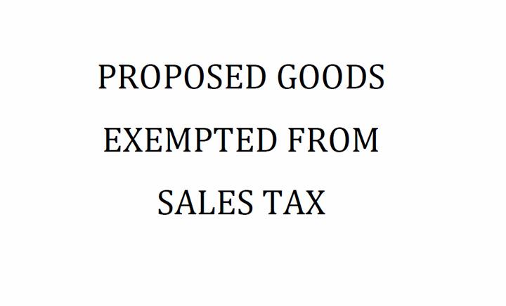 Senarai Barang Dicadangkan Tidak Dikenakan SST 2018