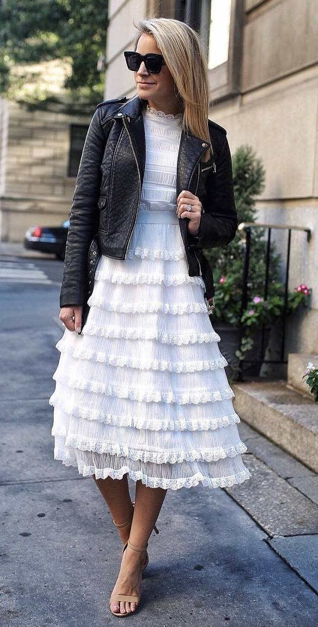 incredible spring outfit / black moto jacket and white midi dress + heels