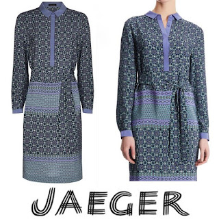 JAEGER Silk Print Shirt Dress