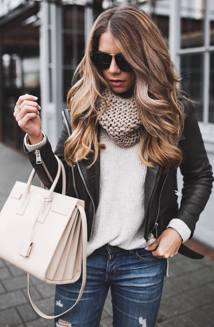 what to wear with a knit scarf : white sweater + black leather jacket + bag + jeans