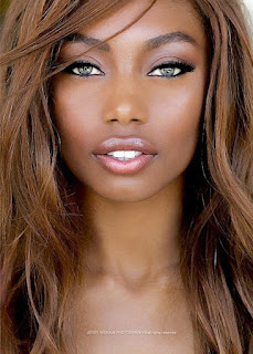 african woman chocolate brown hair