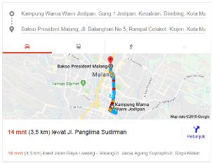 peta lokasi bakso president malang dari kampung warna warni nurul sufitri blogger traveling culinary