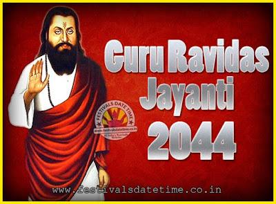2044 Guru Ravidas Jayanti Date & Time, 2044 Ravidas Jayanti Calendar