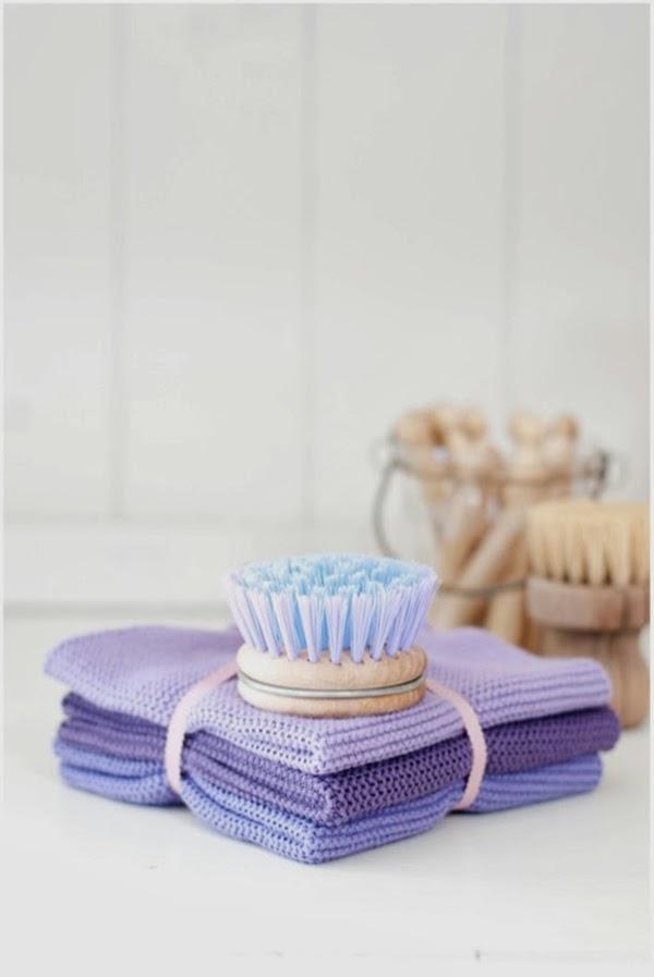 purple dish cloths and rice dk dish brush