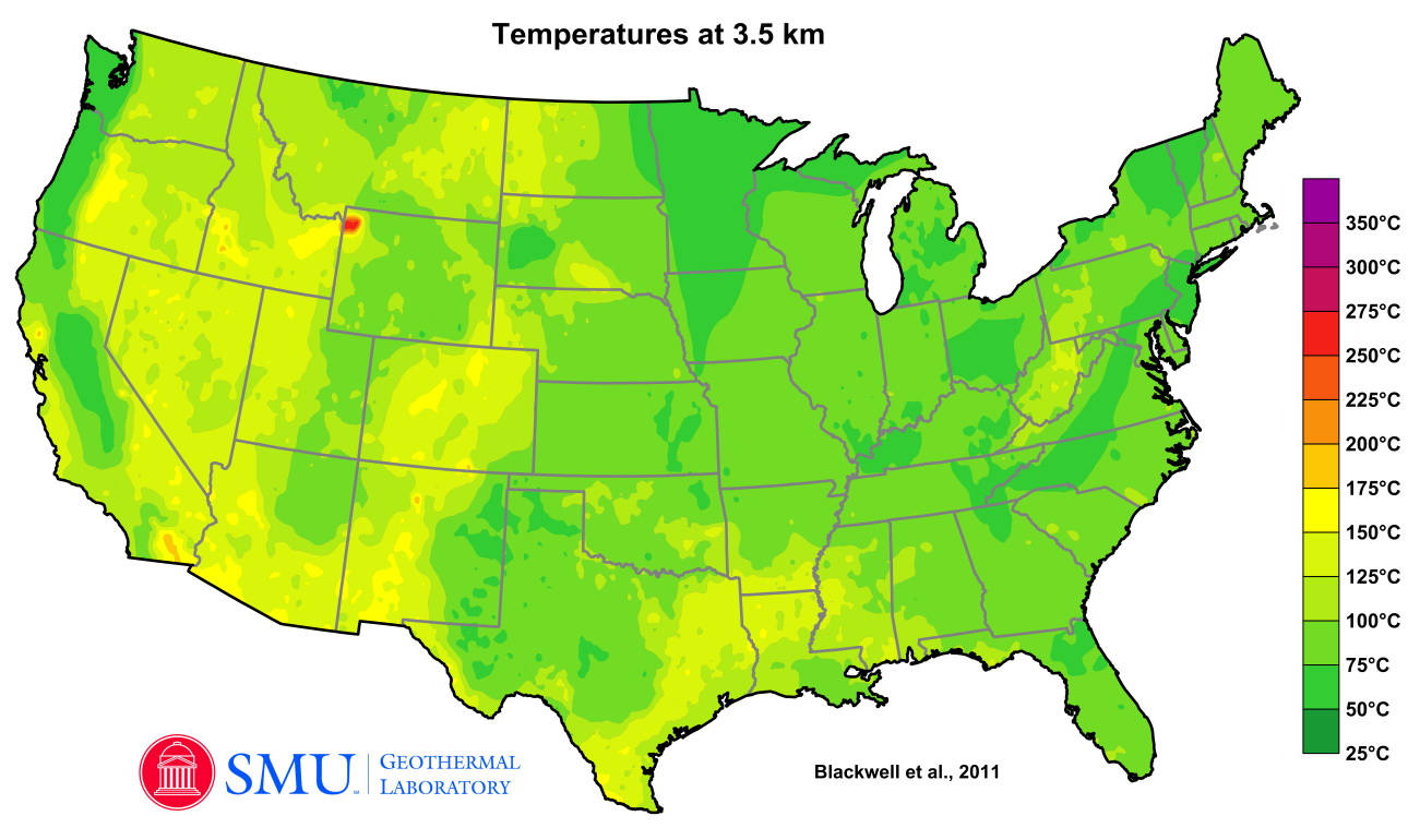 Temperature of rocks at 3.5 kilometers below the surface in the continental US