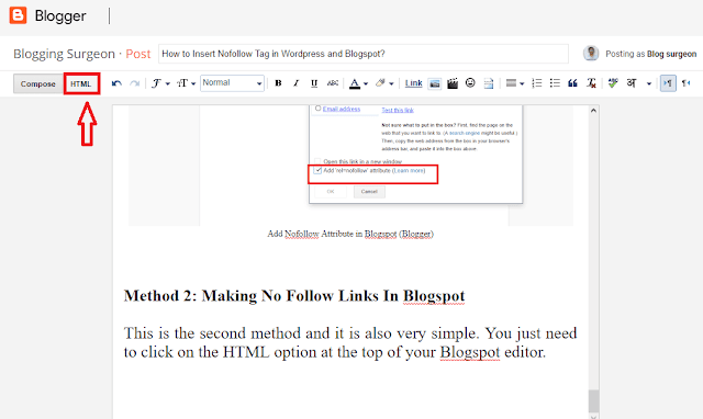 Add Nofollow Attribute in Blogspot (Blogger)