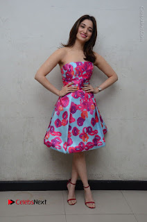 Actress Tamanna Latest Images in Floral Short Dress at Okkadochadu Movie Promotions  0178.JPG