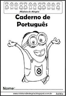 Capa para caderno português Minions
