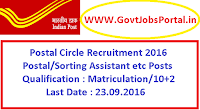 Postal Assistant Recruitment Exam 2016