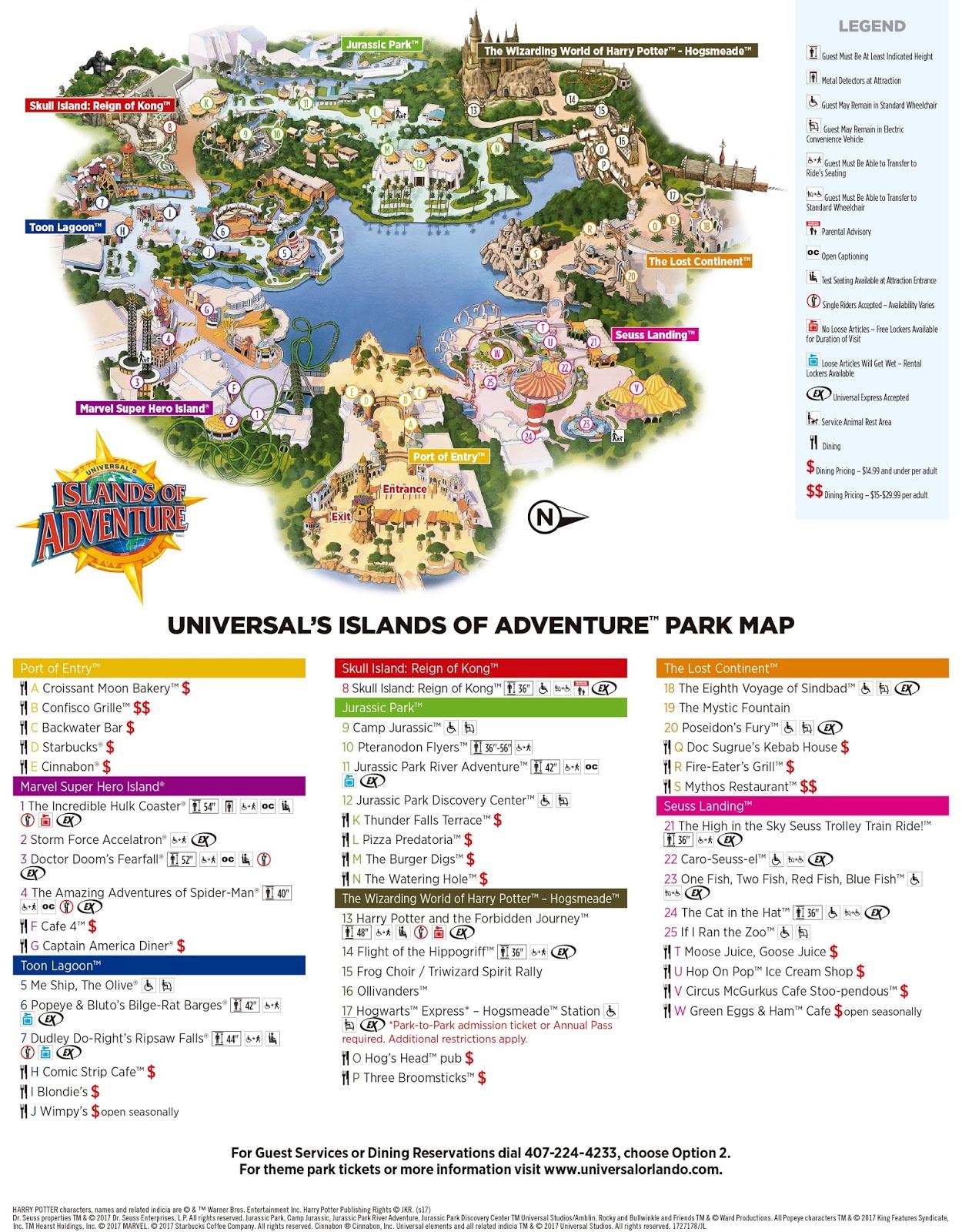 Mapa Universal's Islands of Adventure