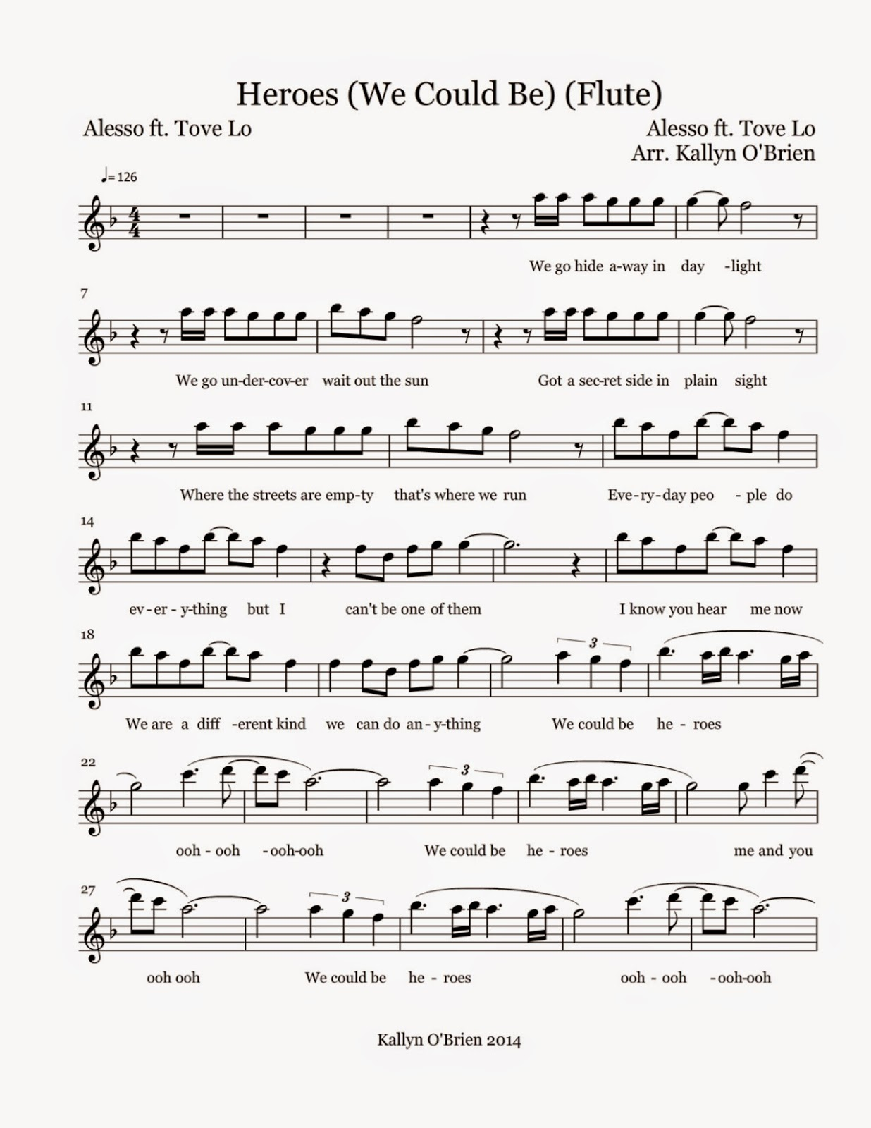 flute sheet music heroes we could be sheet music. Black Bedroom Furniture Sets. Home Design Ideas