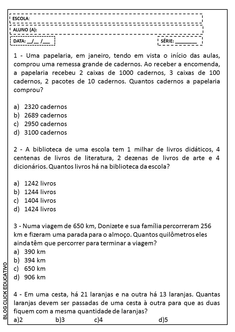 Problemas De Matematica 4 Ano Ensino Fundamental Para Imprimir Ensino Relacionado