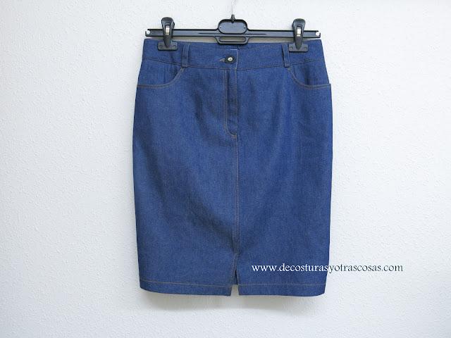 falda denin tubo con abertura