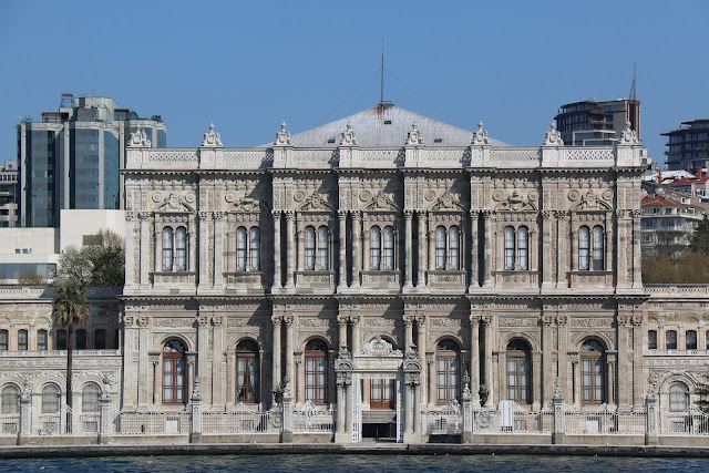 Dolmabahce Palace is a must to visit in European side of Istanbul and nearby Galata Tower in Istanbul, Turkey