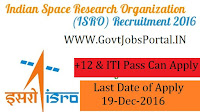 ISRO Recruitment 2017 for Various Posts