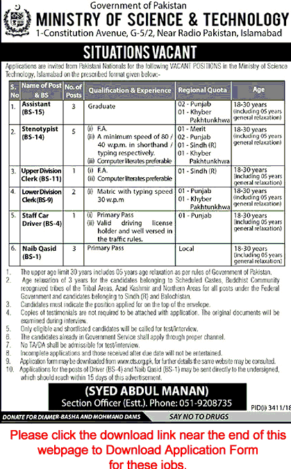 NTS jobs pakistan jobs Ministry of science