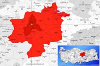 Sivas merkez ilçesinin nerede olduğunu gösteren harita.