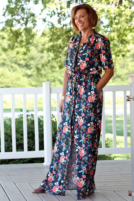 Style Maker Fabrics' Les Fleurs Birch Floral Rayon Navy sewn into a Simplicity 8084  maxi dress, designed by Mimi G